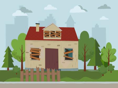 Illustration pour Abandoned house. Flat design. Vector illustration. - image libre de droit