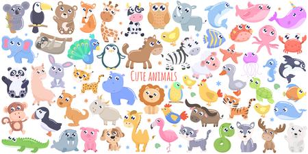 Ilustración de Cute cartoon animals. flat design - Imagen libre de derechos