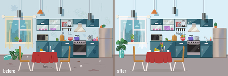 Illustration for Kitchen before and after cleaning vector flat illustration. - Royalty Free Image