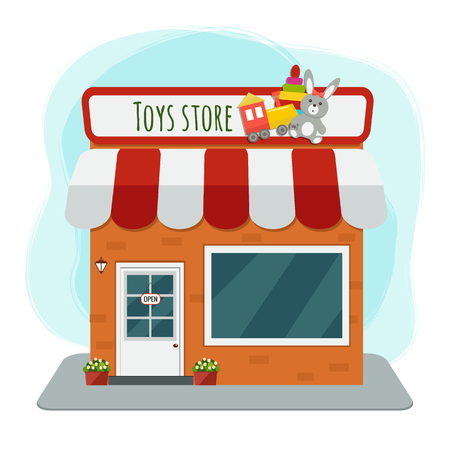 Ilustración de Toys store flat vector illustration - Imagen libre de derechos