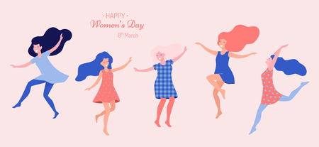 Illustration pour Happy women's day vector illustration. Beautiful dancing women. - image libre de droit