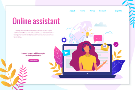 Illustration pour Customer service, hotline operator for web page, banner, presentation, social media concept. - image libre de droit