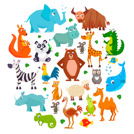 Illustration pour Set of cute cartoon animals. Vector illustration. - image libre de droit