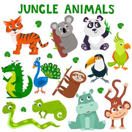 Foto de Set of cartoon cute jungle animals. Vector flat illustration. - Imagen libre de derechos