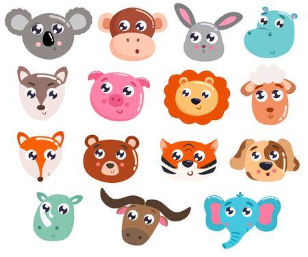 Illustration pour Big set of cute cartoon animals. Vector illustration. - image libre de droit