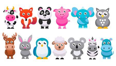 Ilustración de Collection of cute cartoon animals. Vector flat illustration. - Imagen libre de derechos