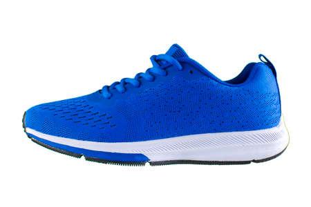Photo pour Sneakers. Blue sport shoes side view - image libre de droit