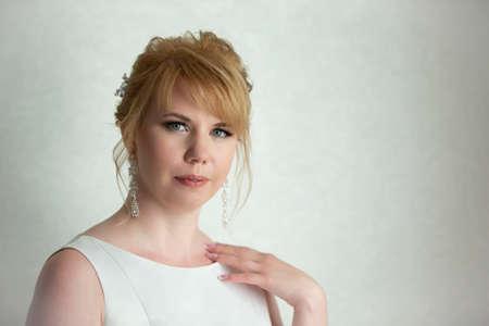 Foto de Portrait of a fair-haired woman. European-style girl. - Imagen libre de derechos