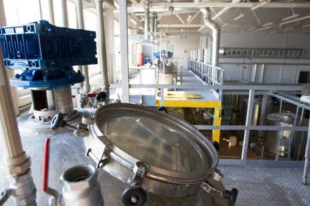Photo pour Belarus, the city of Mensk, April 12, 2019. Chemical production.Chemical production. Metal tanks for the production of acid - image libre de droit