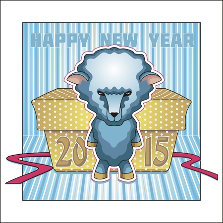Greeting card for the New 2015. Year wooden sheep.