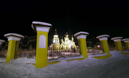 NADYM, RUSSIA - FEBRUARY 25, 2013: Beautifully lit church at night.