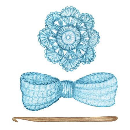 Photo pour Crochet light blue bow, flower, hook hand made concept. Watercolor Hand drawn hobby Knitting and Crocheting tool set on white background. - image libre de droit