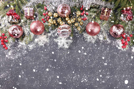 Photo pour Christmas decorations, postcard, banner for showing, Happy new year 2021 background with branches with balls and ribbons in snow flakes, product decoration for holiday advertising, winter - image libre de droit