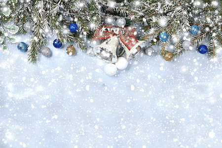 Photo pour New year background with bokeh lights, for branches with pine cones and decorations in snow flakes.Christmas greeting card, banner for showing, product setting for festive promotion, - image libre de droit