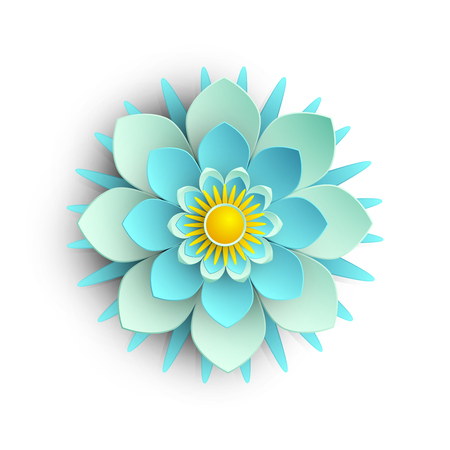 Ilustración de Blue 3d flower isolated on white background. Vector top view illustration. - Imagen libre de derechos