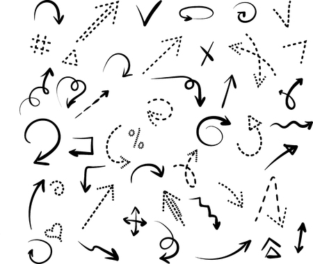 Illustration pour Set of black hand-drawn arrows and dotted signs isolated on white background. Vector illustration.  - image libre de droit