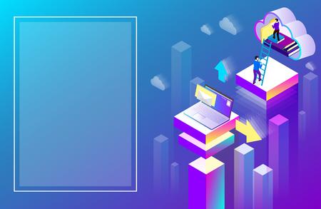 Ilustración de Office or student background laptop used cloud storage. Purple spectrum isometric illustration. Landing page or presentation template. Vector 3d design.  - Imagen libre de derechos