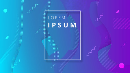 Illustration pour Blue and purple spectrum background with white frame and rounded abstract geometric pattern. Creative solution for business card, invitation, booklet design. Vector paper illustration. - image libre de droit