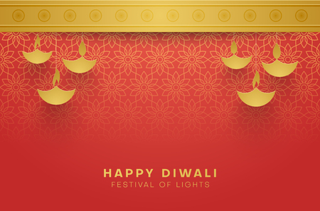 Illustration pour Red Happy Diwali card with gold floral pattern for Festival of lights. Vector background. - image libre de droit