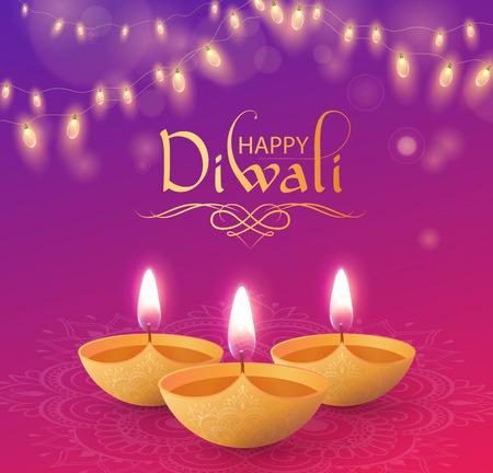 Ilustración de Happy Diwali shiny greeting card with oil lamps and decorative lanterns. Vector background. - Imagen libre de derechos
