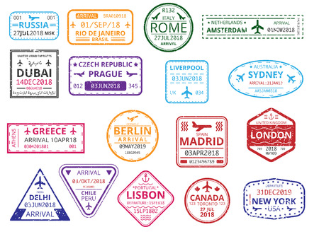 Ilustración de Set of color border custom stamps in passport isolated on white background. International tourism, travelling, vacations, immigration, visa, business trip. Vector paper illustration. - Imagen libre de derechos