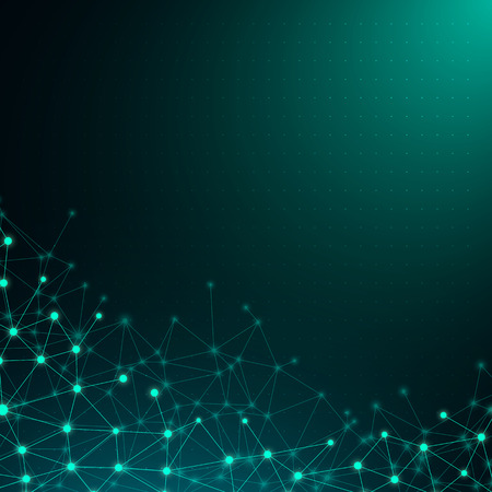 Illustration for Green global communication poster with abstract shiny digital network pattern. Vector background. - Royalty Free Image