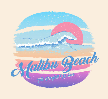 Illustration for Colorful poster with wave and Malibu beach inscription, summer paradise. Decor for fabric, textile, clothes. T-shirt print, trendy design for youth, teenagers. Vector illustration. - Royalty Free Image