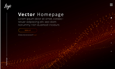 Illustration pour Web homepage template with buttons and red abstract digital pattern. Creative webpage design. Vector background. - image libre de droit
