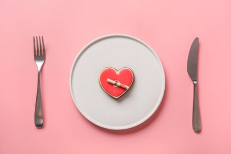 Photo for Homemade heart shaped cookies for Valentines day in white plate. Table setting on pink background. Invitation. Declaration of love, note. View from above. Flat lay. - Royalty Free Image
