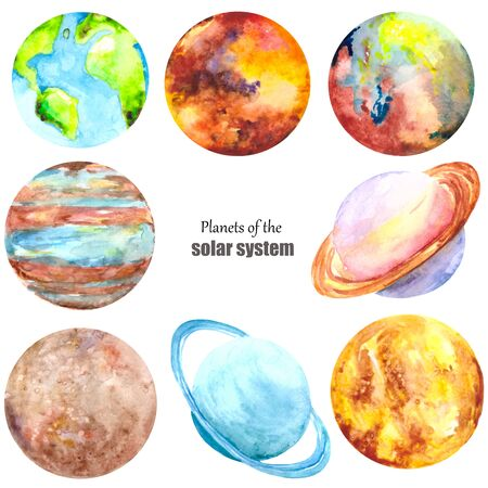Photo pour A colorful set with the planets of the Solar system isolated on a white background. Watercolor collection of Earth, mercury, Mars, Venus, Saturn, Uranus, Neptune and Jupiter. - image libre de droit