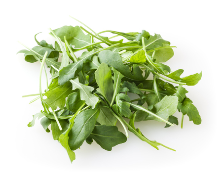 Photo for Heap of fresh arugula leaves isolated on white background - Royalty Free Image