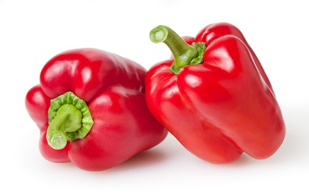 Photo for Fresh red bell peppers isolated on white background - Royalty Free Image