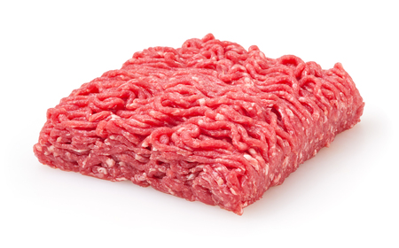 Foto de Fresh raw beef minced meat isolated on white background - Imagen libre de derechos