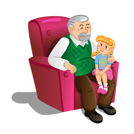 Grandfather with granddaughter. Illustration in cartoon style, vector