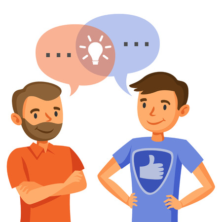 Illustration for Two men talk, discussion, exchange of ideas, teamwork, and programmers - Royalty Free Image