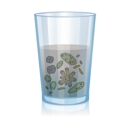 Illustration for Glass with dirty water, bacteria, science microbiology, infection illustration. Vector illustration - Royalty Free Image