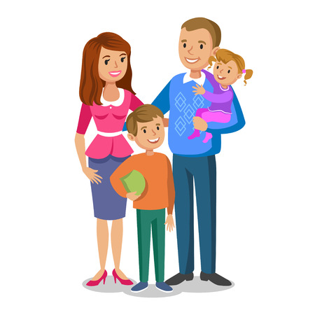 Illustration for Happy family portrait, smiling parents and kids. Concept happy family, family love. Vector illustration isolated on white - Royalty Free Image