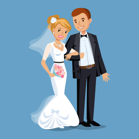Illustration pour Cute Bride and groom, Wedding Party set illustration. Cartoon Wedding people couple. Vector illustration - image libre de droit