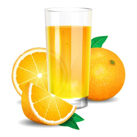 Illustration pour Fresh orange juice and pieces of orange, citrus juice and oranges. Realistic transparent glass of juice - image libre de droit