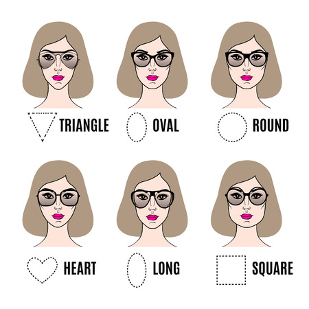Photo pour Womens Sunglasses Shapes for different face shapes. Various types of female faces in sunglasses. Vector illustration - image libre de droit