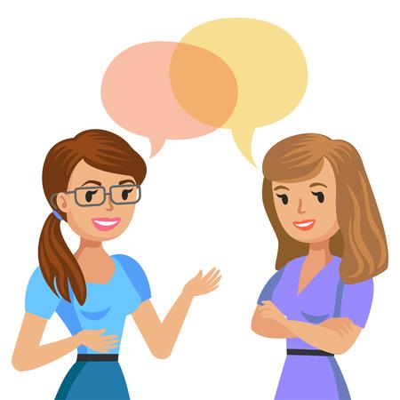 Illustration pour Two young women talking. Meeting colleagues or friends. Vector illustration - image libre de droit