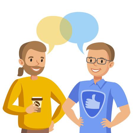 Illustration pour Two man talking. Talk of friends or colleagues. Vector illustration - image libre de droit