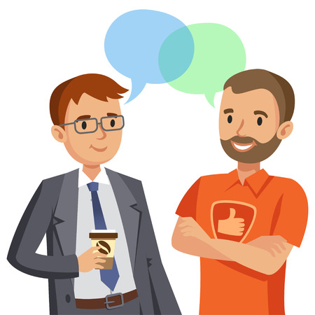 Illustration pour Two man talking. Meeting of friends or colleagues. Vector illustration - image libre de droit