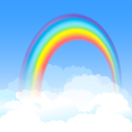 Bright arched rainbow with blue sky and white clouds  Vector