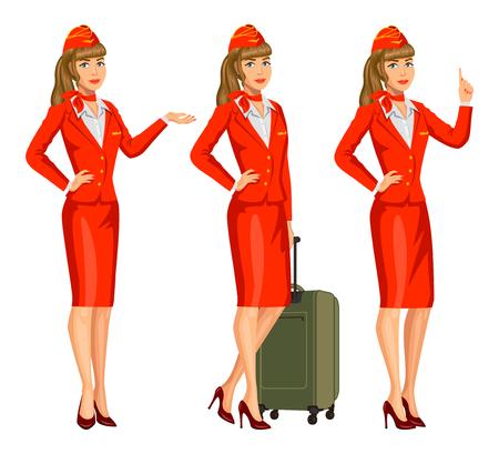 Ilustración de Stewardess in red uniform. Flying attendants, air hostess. Profession stewardess, cartoon character. Vector illustration - Imagen libre de derechos