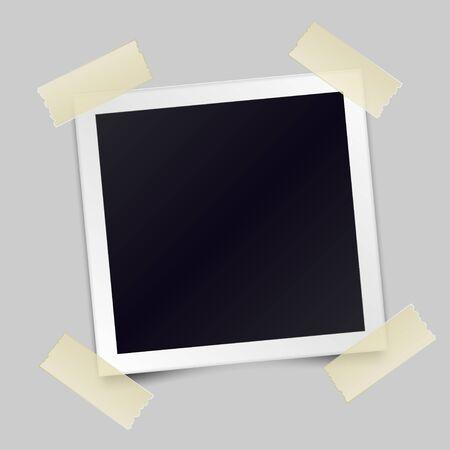 Illustration pour Vintage realistic photo frame sticked with adhesive tape. Template photo design. Vector illustration - image libre de droit