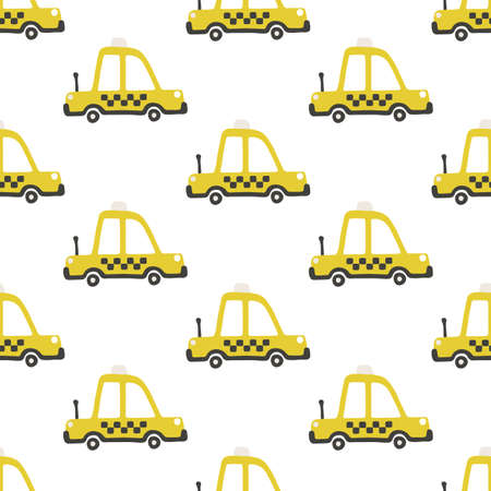 Yellow taxi car seamless pattern. Vector childish illustration in scandinavian simple hand-drawn style. The limited palette is ideal for printing on baby clothes, digital paper