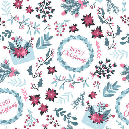 Illustration for Christmas winter floral seamless pattern. Vector illustration with mail envelope and festive wreath with text in a hand-drawn style. Pastel palette is ideal for printing packaging, fabrics, textiles - Royalty Free Image
