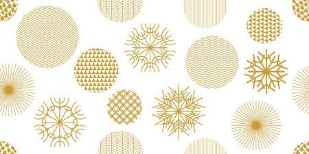 Ilustración de Snowflakes and circles with different ornaments. Retro textile collection. On white background. - Imagen libre de derechos