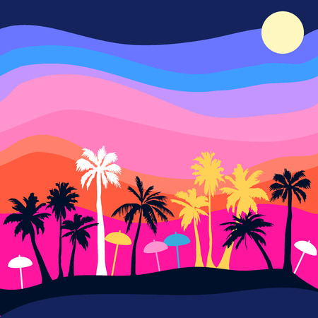 Illustration pour Seamless vector pattern with palms and colorful sky. Anoha textile collection. - image libre de droit